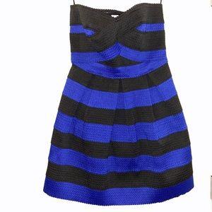 Strapless Medium Black & Blue Striped Short Dress